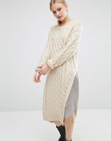 J.o.a. Assymetric Cable Knit Sweater