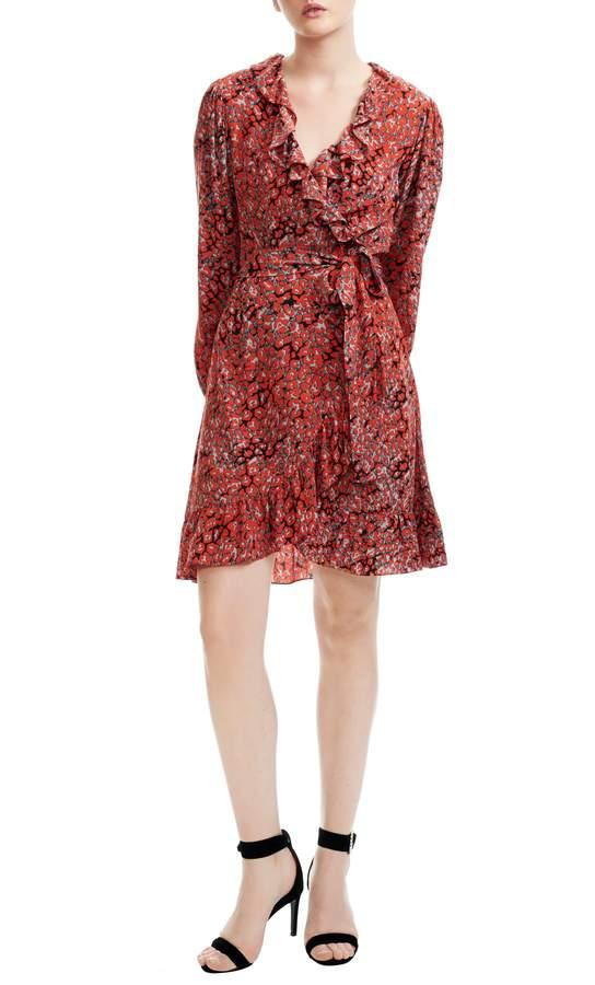 Maje Rosetto Leopard Ruffle Wrap Dress