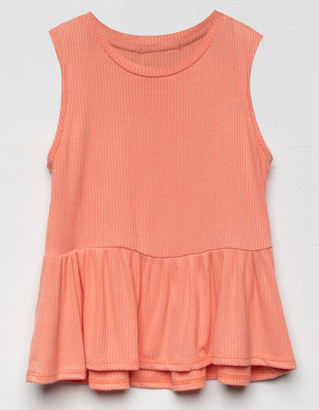 WHITE FAWN Ribbed Girls Coral Babydoll Tank