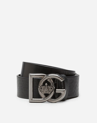 Dolce & Gabbana Tumbled Leather Belt With Crossed Logo