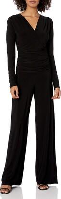 Norma Kamali Women's V Neck Longsleeve Shirred Waist Jumpsuit
