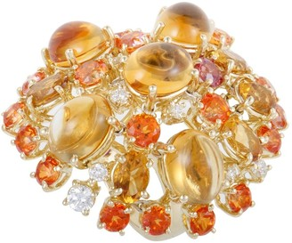 Roberto Coin Shanghai Womens Yellow Gold Diamond Yellow Citrine and Orange Topaz Cocktail Ring