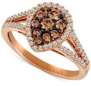 LeVian Le Vian Chocolatier Diamond Teardrop Split Shank Ring (3/4 ct. t.w.) in 14k Rose Gold