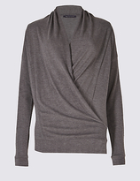 M&S Collection Wrap V-Neck Long Sleeve T-Shirt
