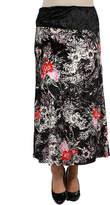 24/7 Comfort Apparel Floral Velvet Curvy Skirt - Plus