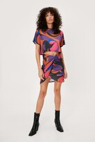 Thumbnail for your product : Nasty Gal Womens Printed T-Shirt and Wrap Mini Skirt Set - Pink - 14