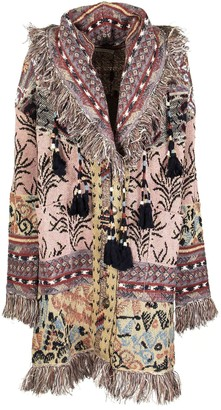 Etro Jacquard Knitted Coat With Fringe