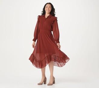 G.I.L.I. Got It Love It G.I.L.I. Solid or Print Asymmetric Hem Woven Dress w/ Smocking Detail