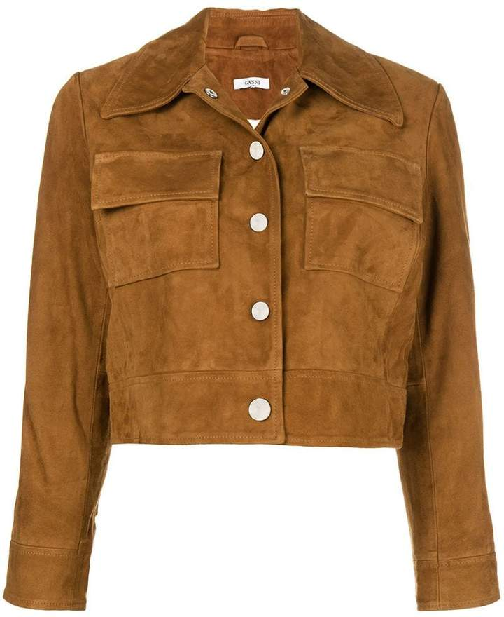 Ganni cropped fitted jacket