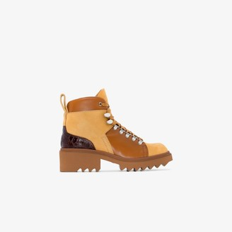 Chloé beige and brown 50 leather hiking boots
