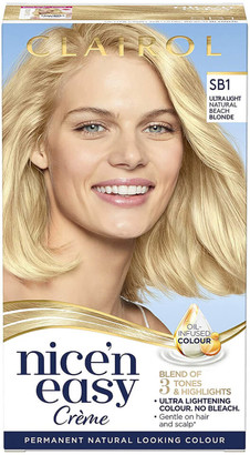 Clairol Nice' n Easy Creme Natural Looking Oil Infused Permanent Hair Dye 177ml (Various Shades) - SB1 Ultra Light Natural Beach Blonde