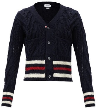 Thom Browne Tricolour-stripe Cabled Wool-blend Cardigan - Navy