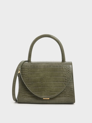 Charles & Keith Croc-Effect Structured Top Handle Bag