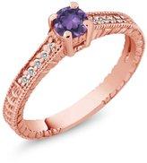 Gem Stone King 0.34 Ct Round Purple Amethyst White Sapphire 18K Rose Gold Engagement Ring