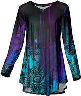 Azalea Purple & Aqua Abstract Paisley V-Neck Tunic - Plus Too