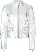 Kenzo eye print biker jacket - women - Cotton/Leather/Acetate - XS