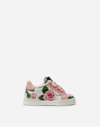 Dolce & Gabbana Portofino Light Sneakers In Patent Leather With Tropical Rose Print