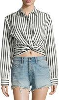 Alexander Wang Long-Sleeve Striped Poplin Blouse, Black/White