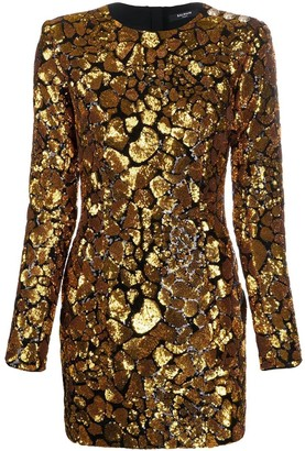 Balmain Black And Gold Sequined Dress