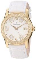 Swarovski Claude Bernard Women's 61163 37JP BD Ladies Fashion Gold PVD White Leather Watch