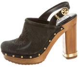 Tory Burch Suede Perforated Clogs