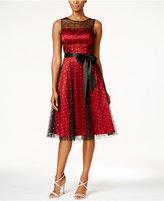 Jessica Howard Illusion Sash Fit & Flare Dress