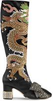 Gucci Dragon satin mid-heel knee boot
