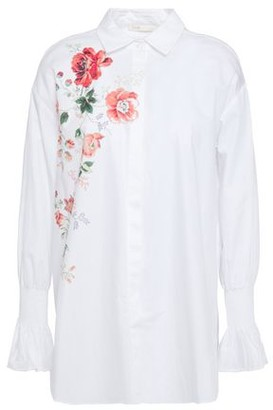 Maje Cravi Floral-print Cotton-poplin Shirt
