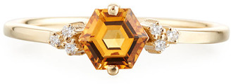 Suzanne Kalan Bloom 14k Yellow Gold Hexagon Ring w/ Diamonds, Size 4-8.5