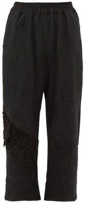 By Walid Vintage Jet-beaded Cotton Cropped Trousers - Black