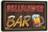 AdvPro Canvas scw3-051032 BELLFLOWER Name Home Bar Pub Beer Mugs Stretched Canvas Print Sign