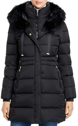 T Tahari Stephanie Faux Fur-Trim Puffer Coat