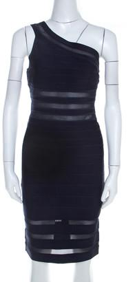 Herve Leger Navy Blue Knit and Mesh Insert One Shoulder Lara Bandage Dress M