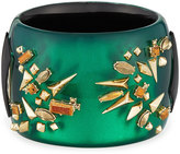 Alexis Bittar Studded Statement Hinged Cuff Bracelet, Green