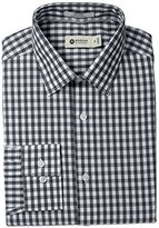 Haggar Men's Large Gingham Check Point Collar Long Sleeve Dress Shirt