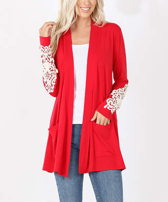 Lydiane Women's Open Cardigans RUBY - Ruby Lace Sleeve-Accent Pocket Open Cardigan - Plus