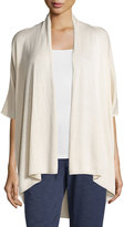 Joan Vass 3/4-Sleeve Open Topper Cardigan, Morning Dove