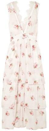 Brock Collection Dale Lace-trimmed Floral-print Cotton-voile Midi Dress