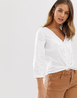 Pimkie blouse with ring detail in white