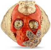 Gucci Skull ring with feline head in gold