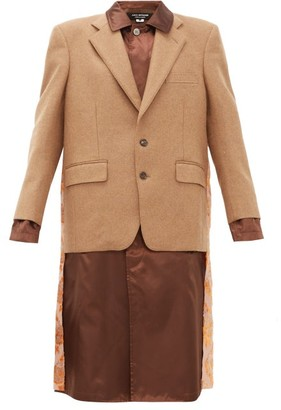 Junya Watanabe Embroidered Satin-panel Wool-blend Blazer Coat - Brown Multi