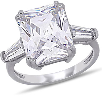 Delmar Sterling Silver Prong Set Radiant Cut 3-Stone Ring