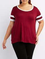 Charlotte Russe Plus Size Scoop Neck Football Tee