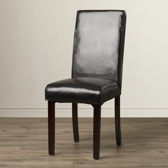"""Andover Millsâ""""¢ Bastian Upholstered Panel Parsons Chair (Set of 2) Andover Millsa Upholstery Color: Black"""