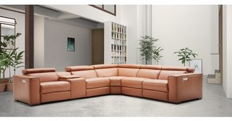 "J&M Furniture Leather 138"" Reversible Sectional Upholstery Color: Caramel"