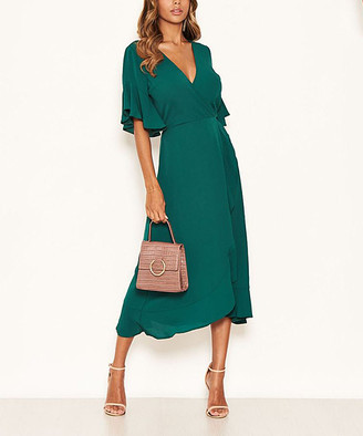 AX Paris Women's Special Occasion Dresses Teal - Teal Flare-Sleeve Ruffle Surplice Dress - Women