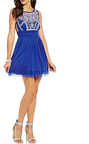 B. Darlin Beaded Illusion Bodice Sleeveless Swing Party Dress