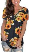 Thumbnail for your product : Uusollecy Women's Tunic Summer Round Neck Lace Plain Short Sleeve Blouses Casual Loose Plus Size Tunic T-Shirt Tops for Women Teen Girls - Multicolour - Large