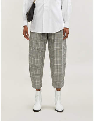 See by Chloe Ladies Black and White High Rise Tapered Checked Woven Trousers