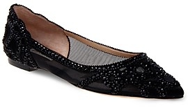 Badgley Mischka Gigi Embellished Pointed-Toe Flats